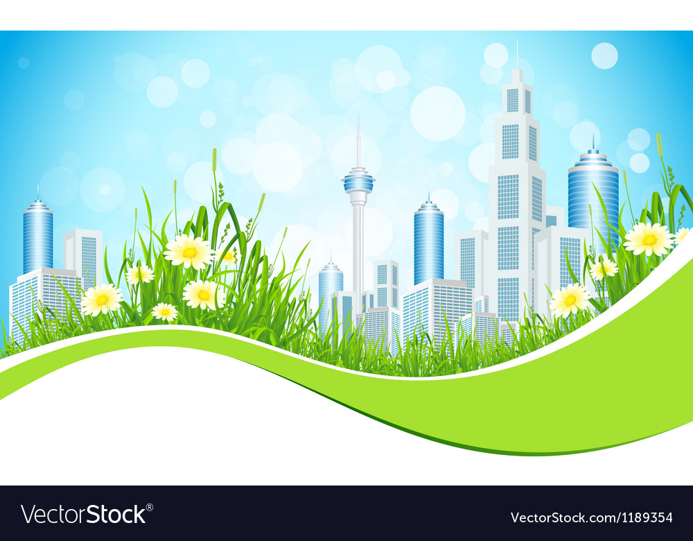 Abstract Background with City Line Flowers and Gra vector image