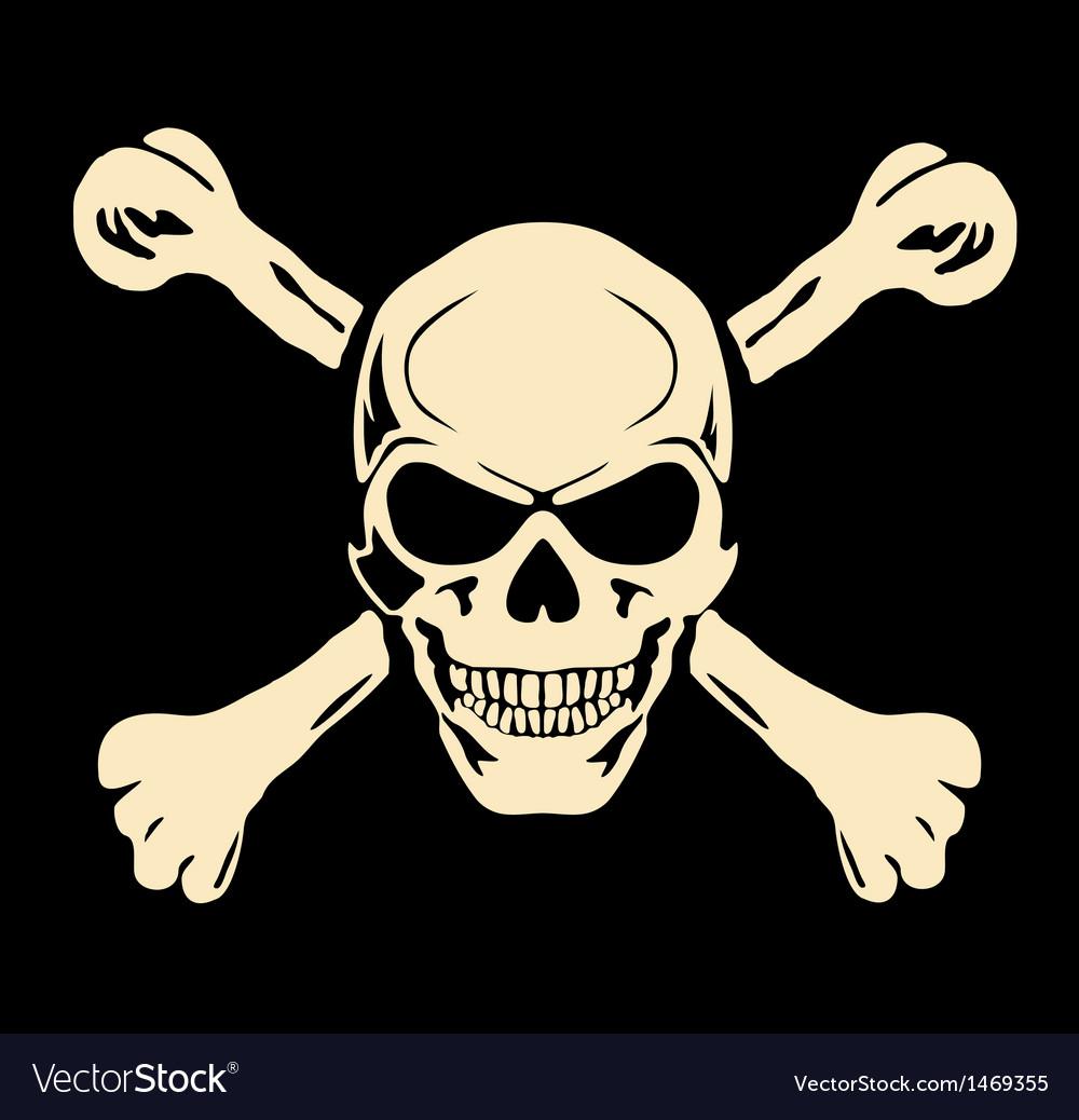 Evil skull with bones Warning sign Vector Image