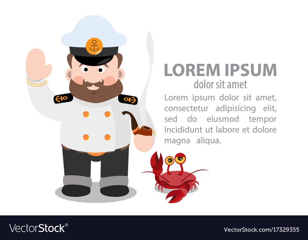 Captain and the crab inphografics vector image