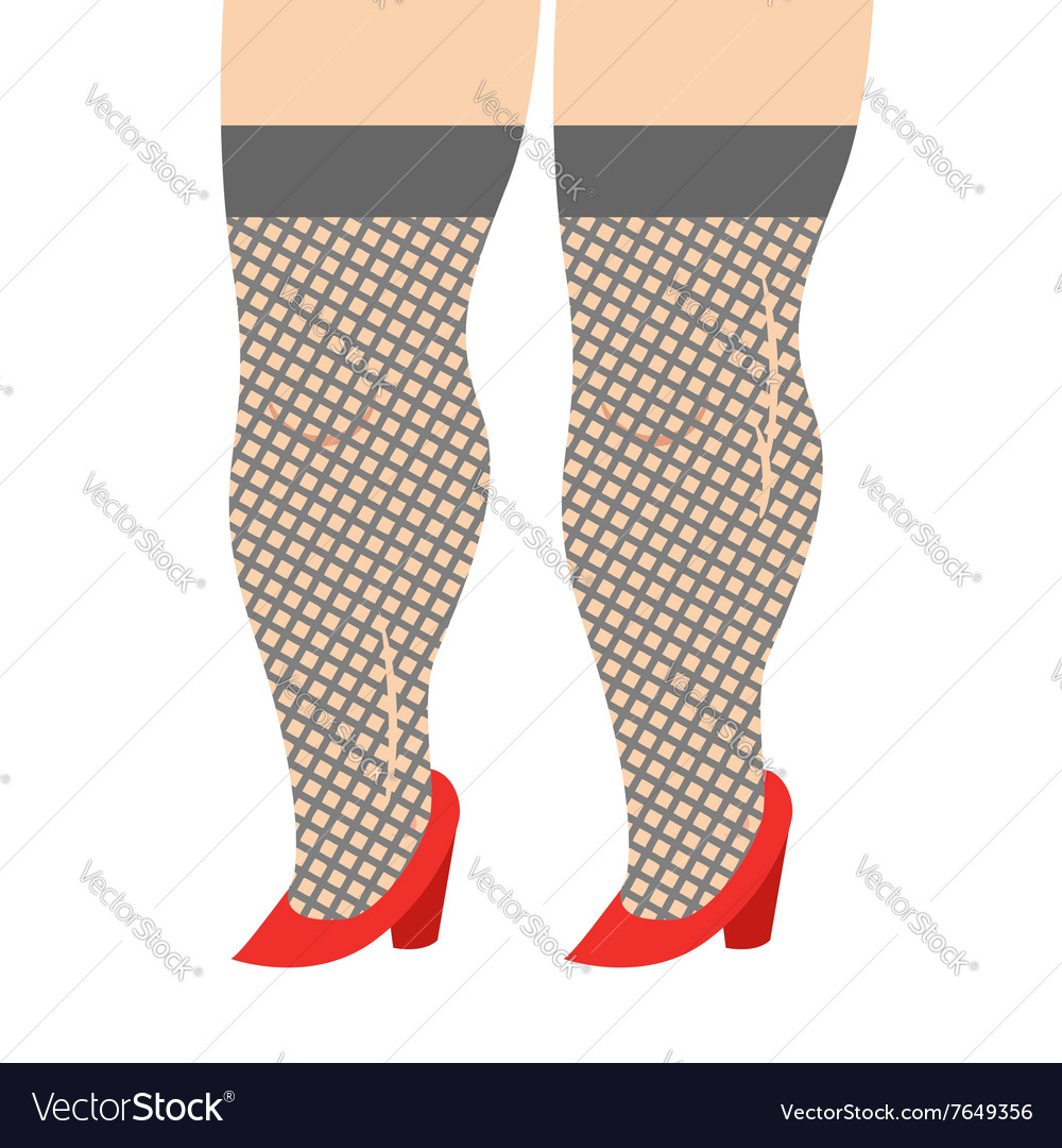 Female Legs in stockings and red shoes Legs girl vector image