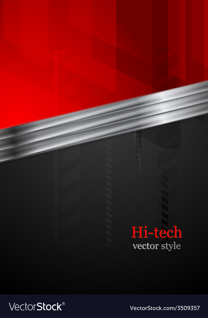Red and black tech background with metal stripe vector image