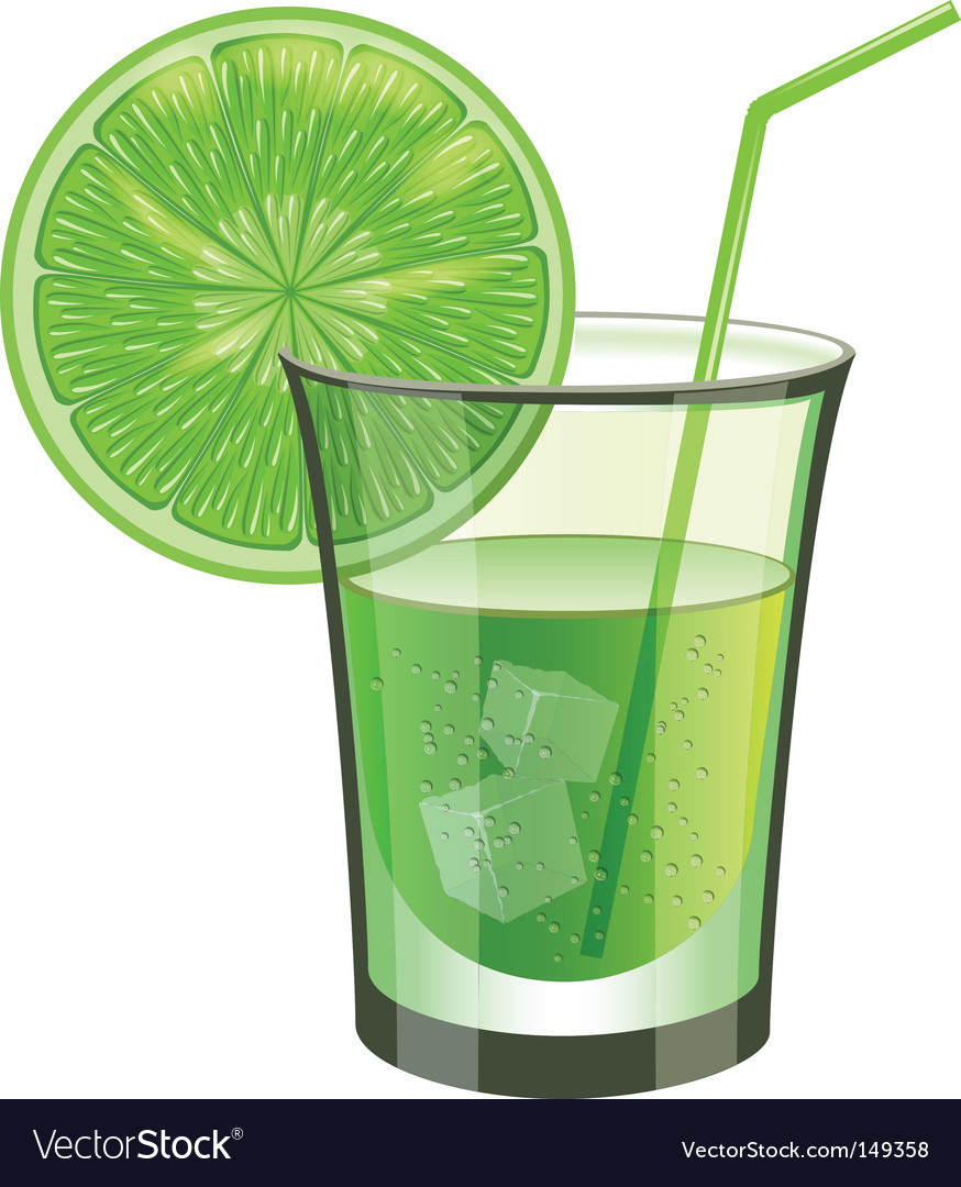 Lime drink with fruit vector image