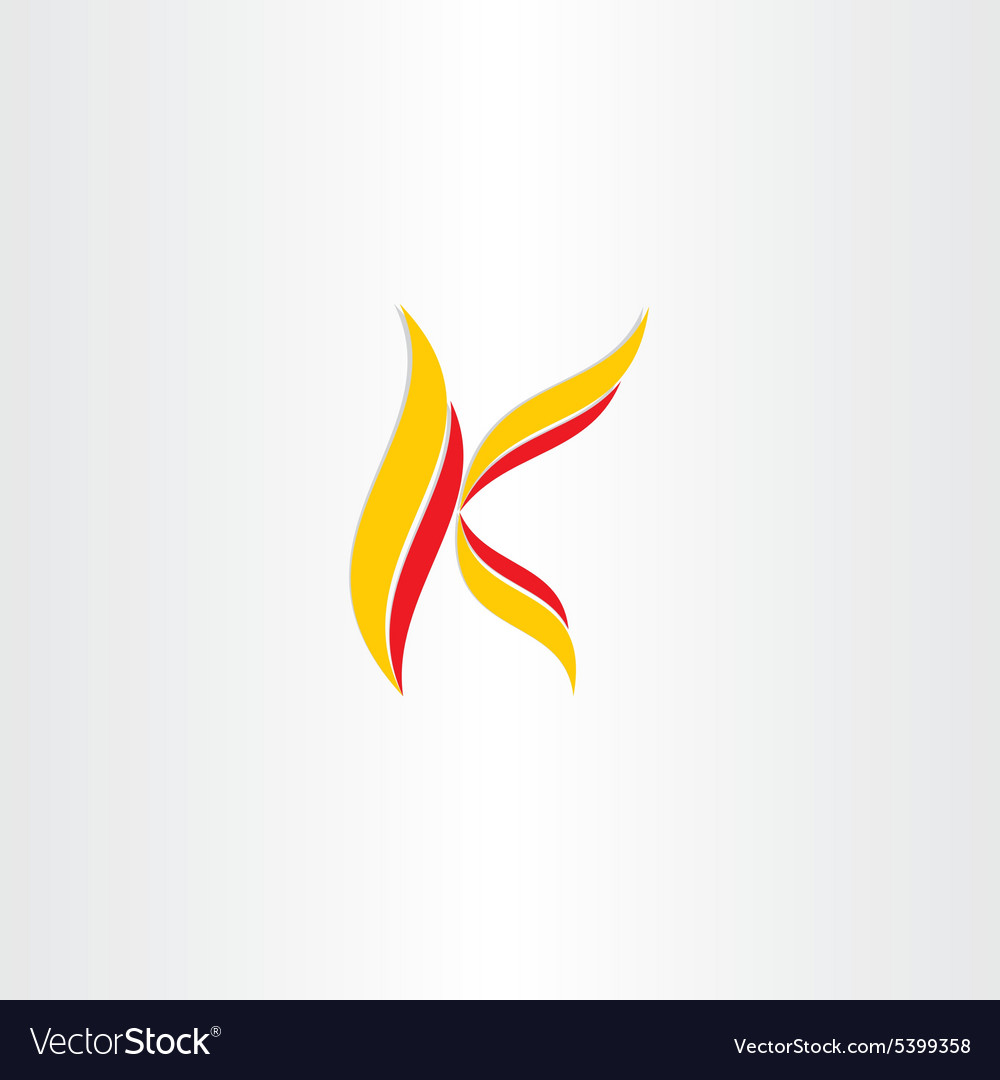Yellow red icon letter k logo vector image