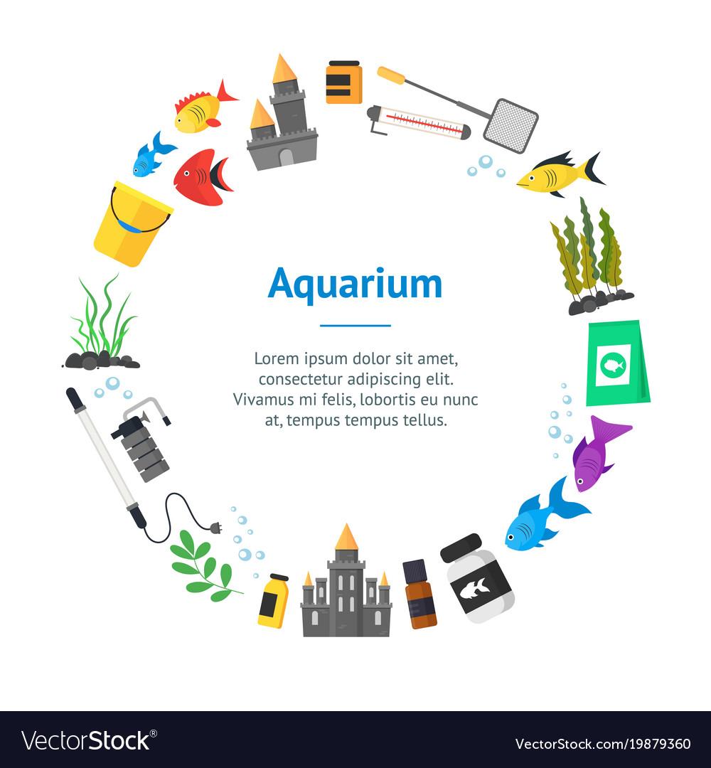 Aquarium banner card circle vector image