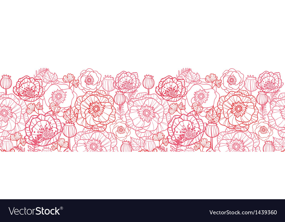 Poppy flowers line art horizontal seamless pattern vector image