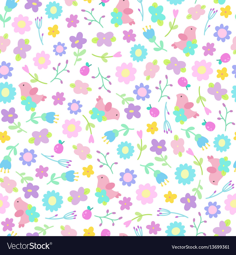 Cute flowers and birds seamless pattern vector image