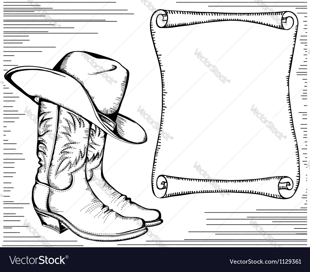 Western background with cowboy boots and scroll vector image