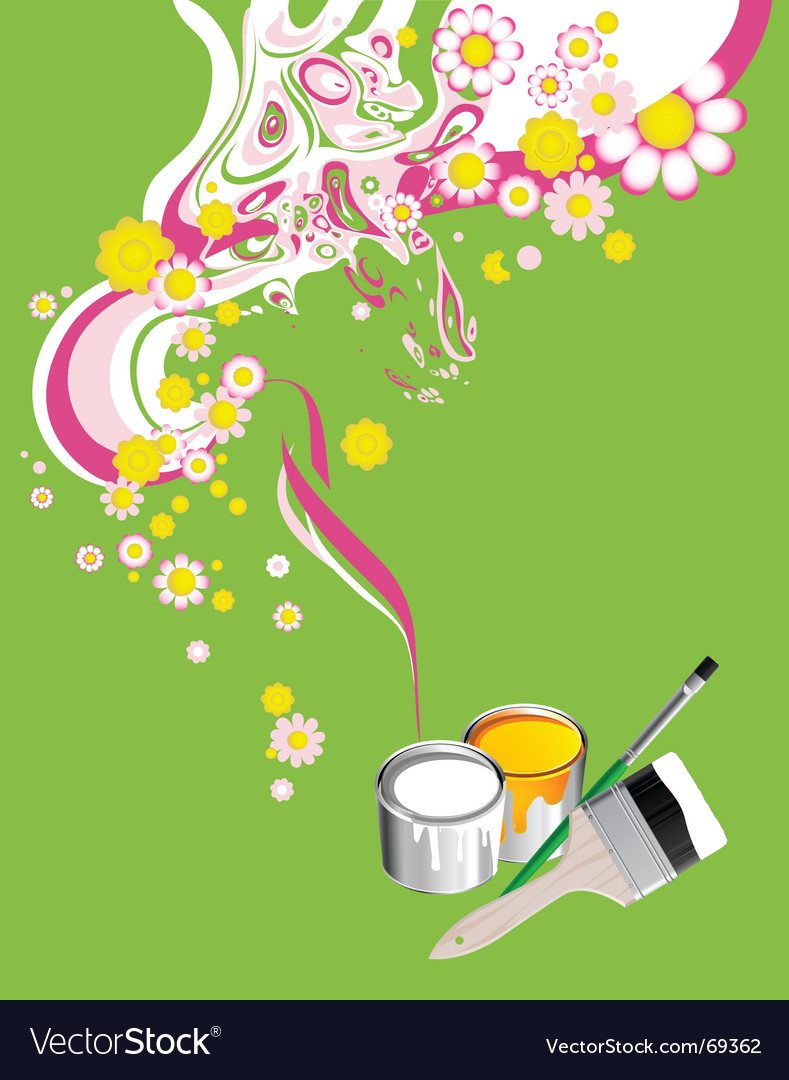 Floral background with paintbrushes vector image