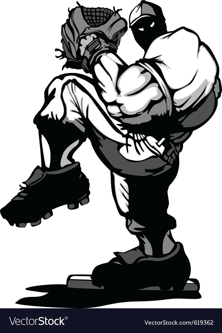 Baseball player pitcher cartoon vector image
