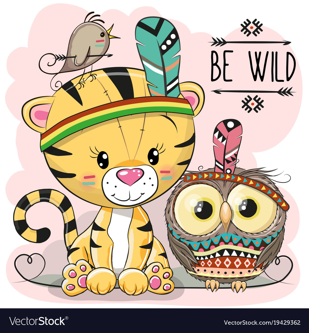 Cute cartoon tribal tiger and owl vector image