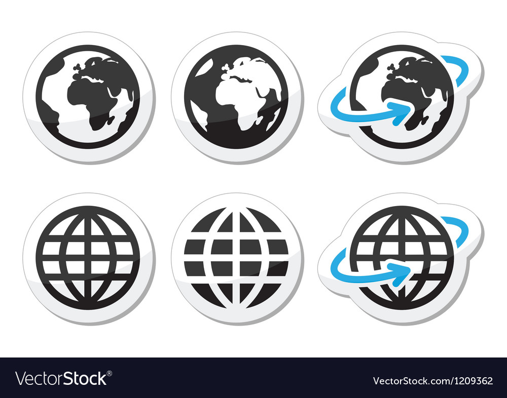 Globe earth icons set with reflection vector image