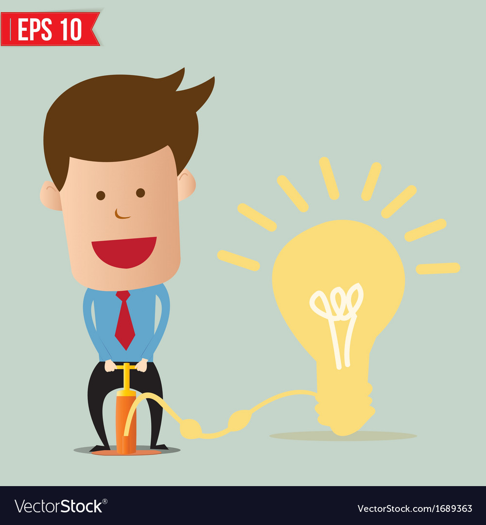 Cartoon Business man pumping idea balloon - vector image