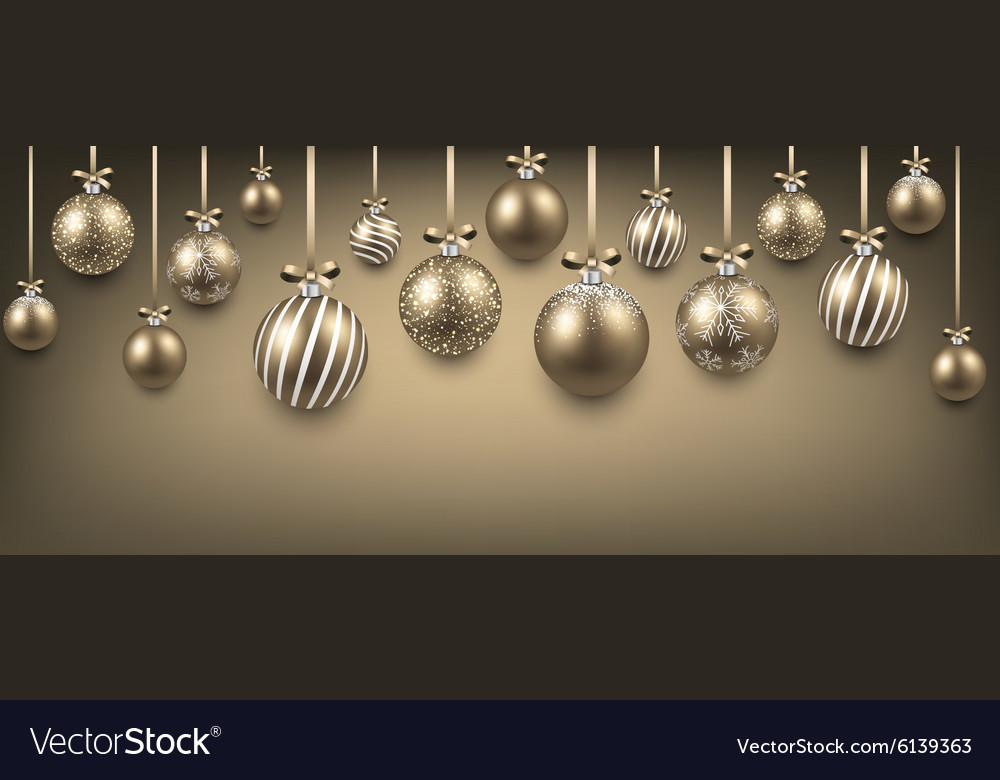 Abstract background with golden christmas balls vector image
