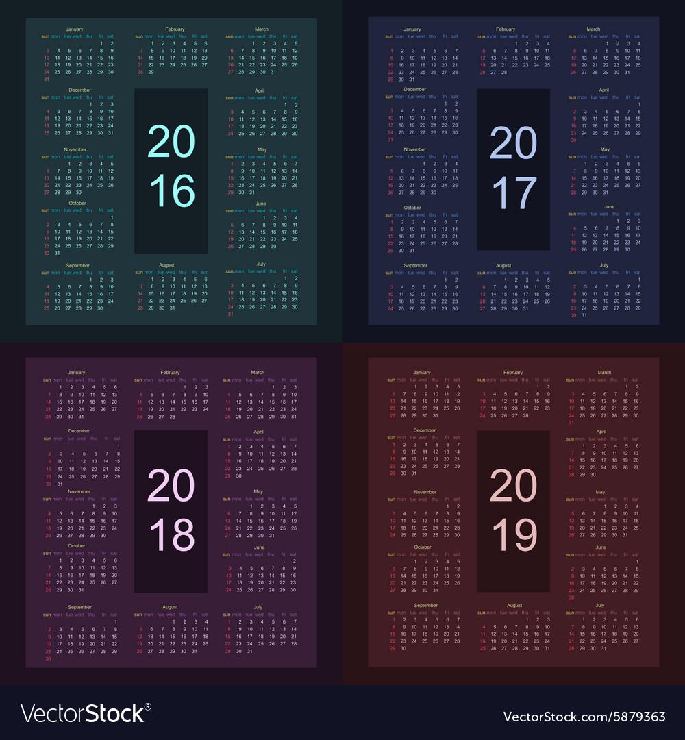 Calendar 2016 2017 2018 2019 starting from sunday vector image