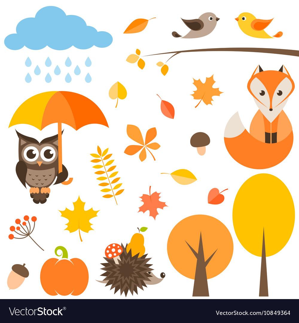 Autumn set isolated on white vector image