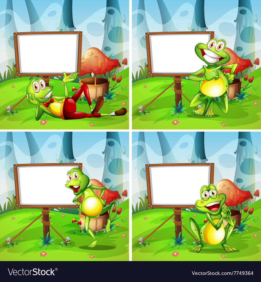 four frames of frog in the park royalty free vector image