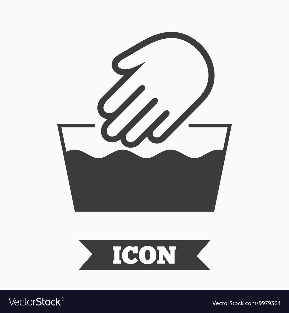 Hand wash sign icon not machine washable symbol vector image buycottarizona Image collections