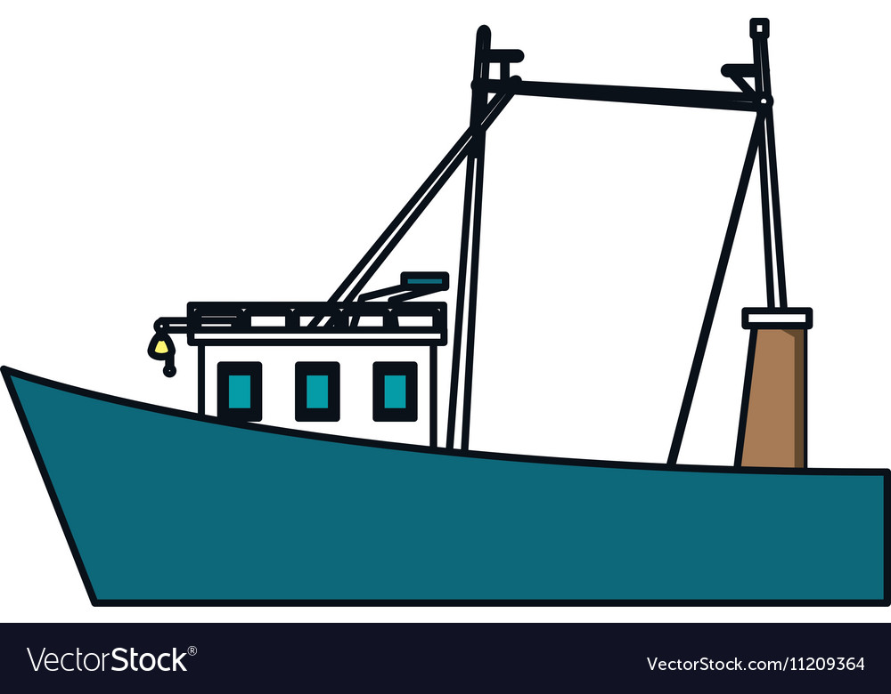 Isolated fishing boat design vector image