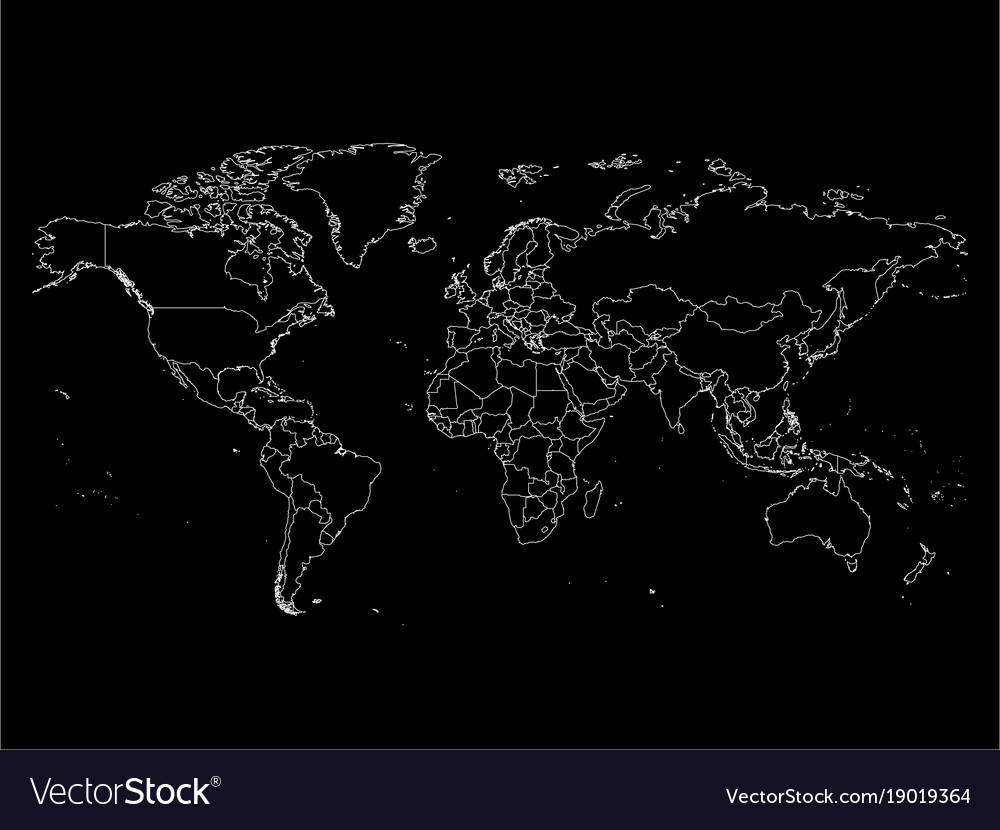 World map with country borders thin white outline vector image gumiabroncs Image collections