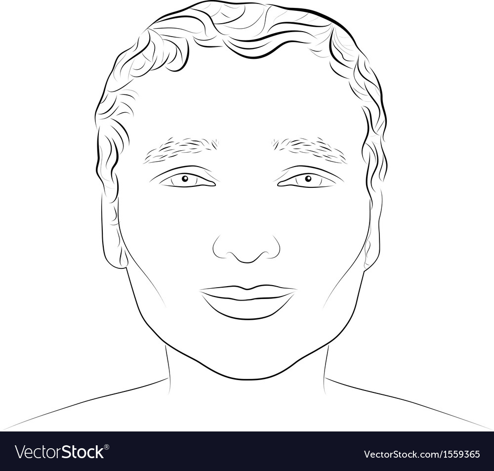 Ink drawing of young attractive male face vector image