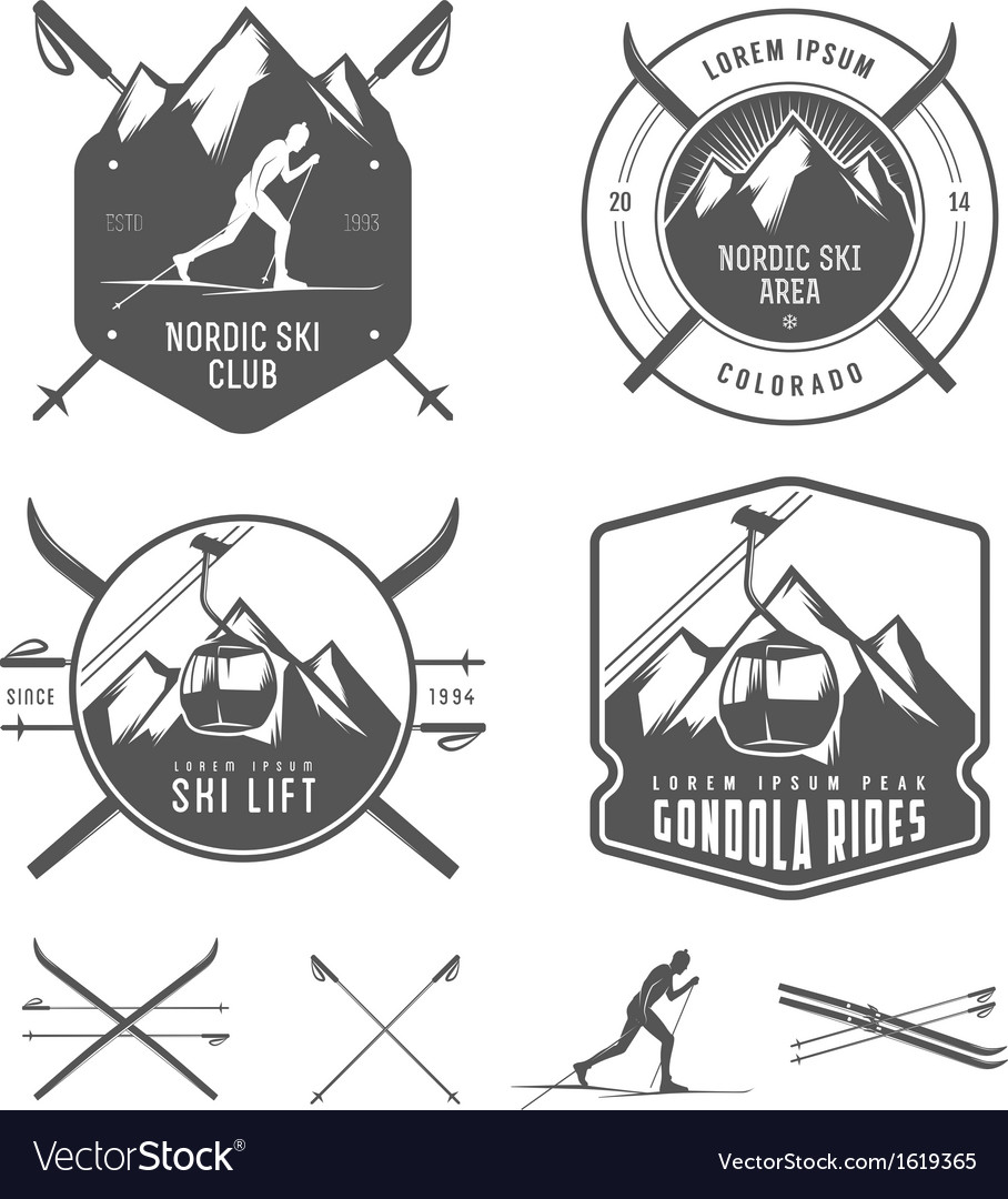 Set of nordic skiing design elements vector image