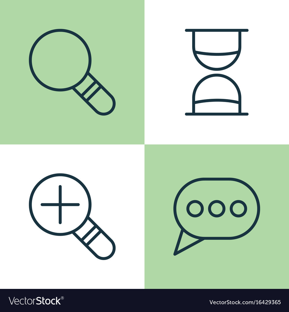 Web icons set collection of increase loup vector image