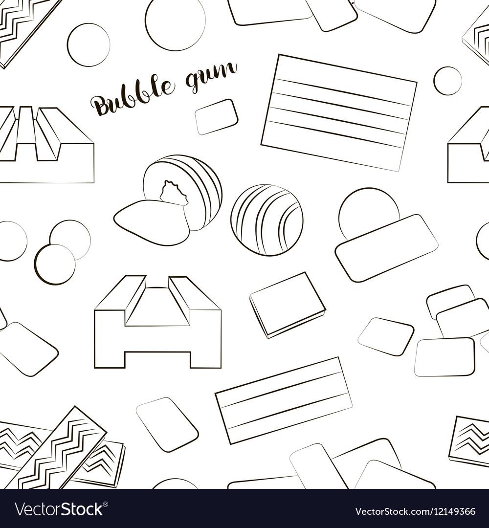 Bubble gum set pattern vector image