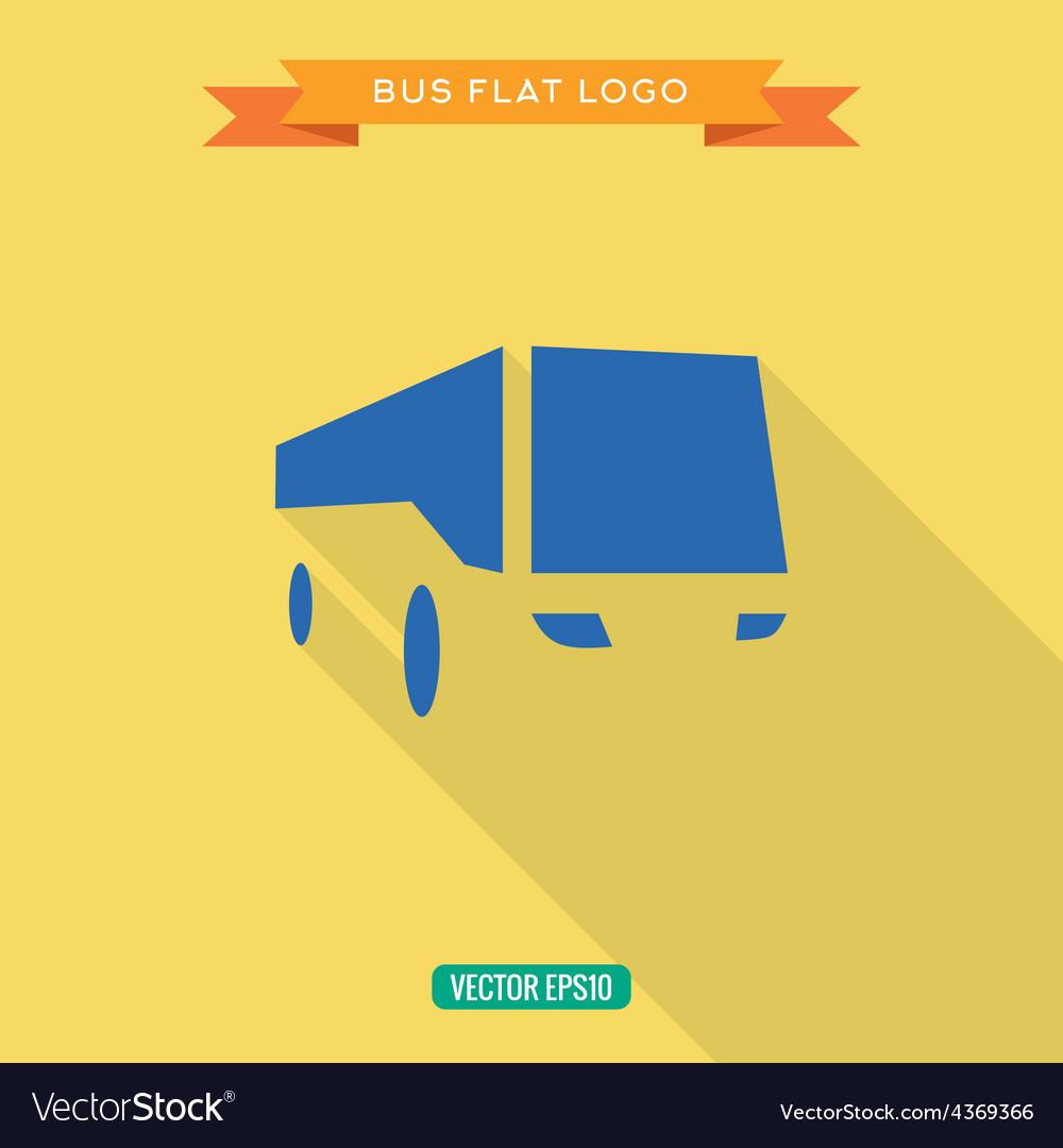 Bus Flat style Icon Set logo vector image