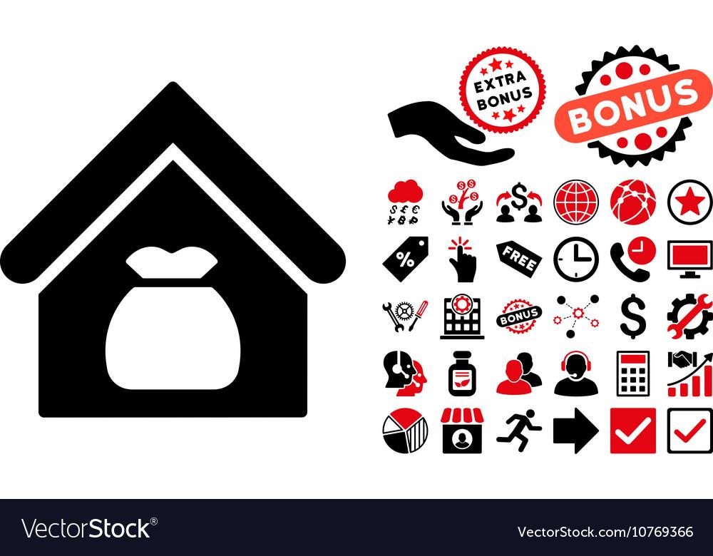 Harvest Warehouse Flat Icon with Bonus vector image