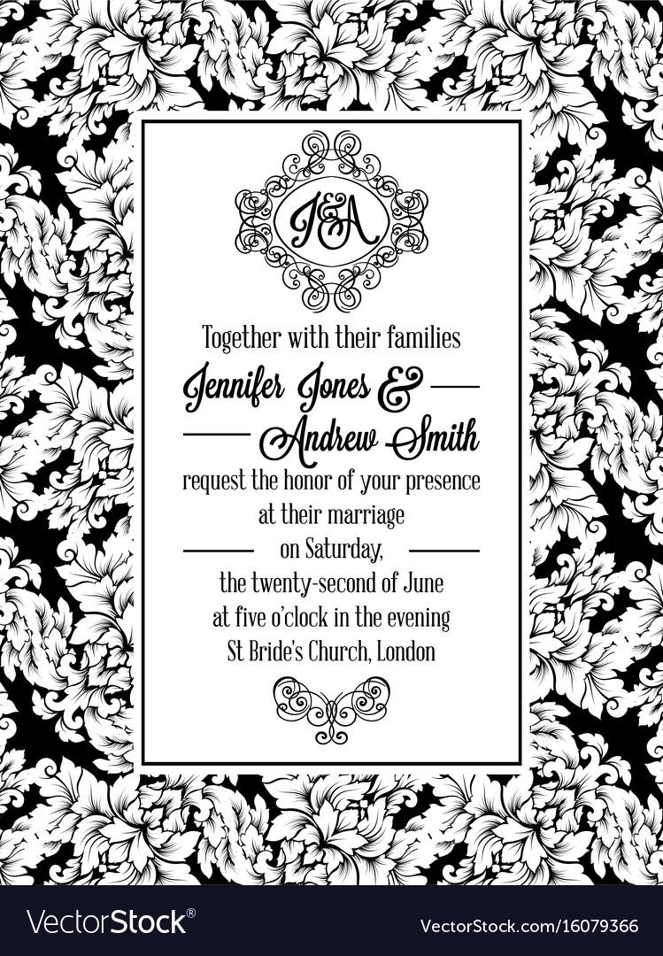 Vintage delicate formal invitation card royalty free vector vintage delicate formal invitation card vector image stopboris Choice Image