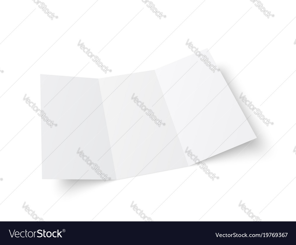 Blank white trifold booklet opened vector image