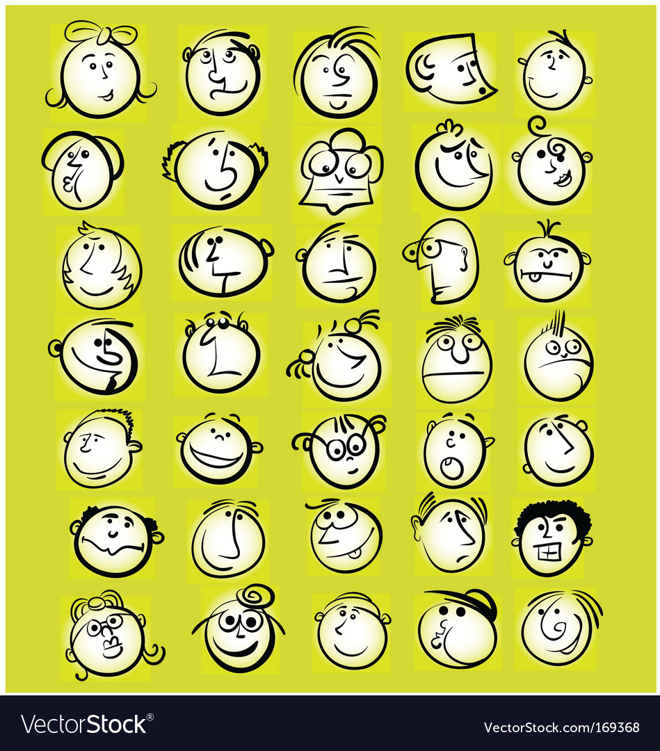 Emotion faces vector image