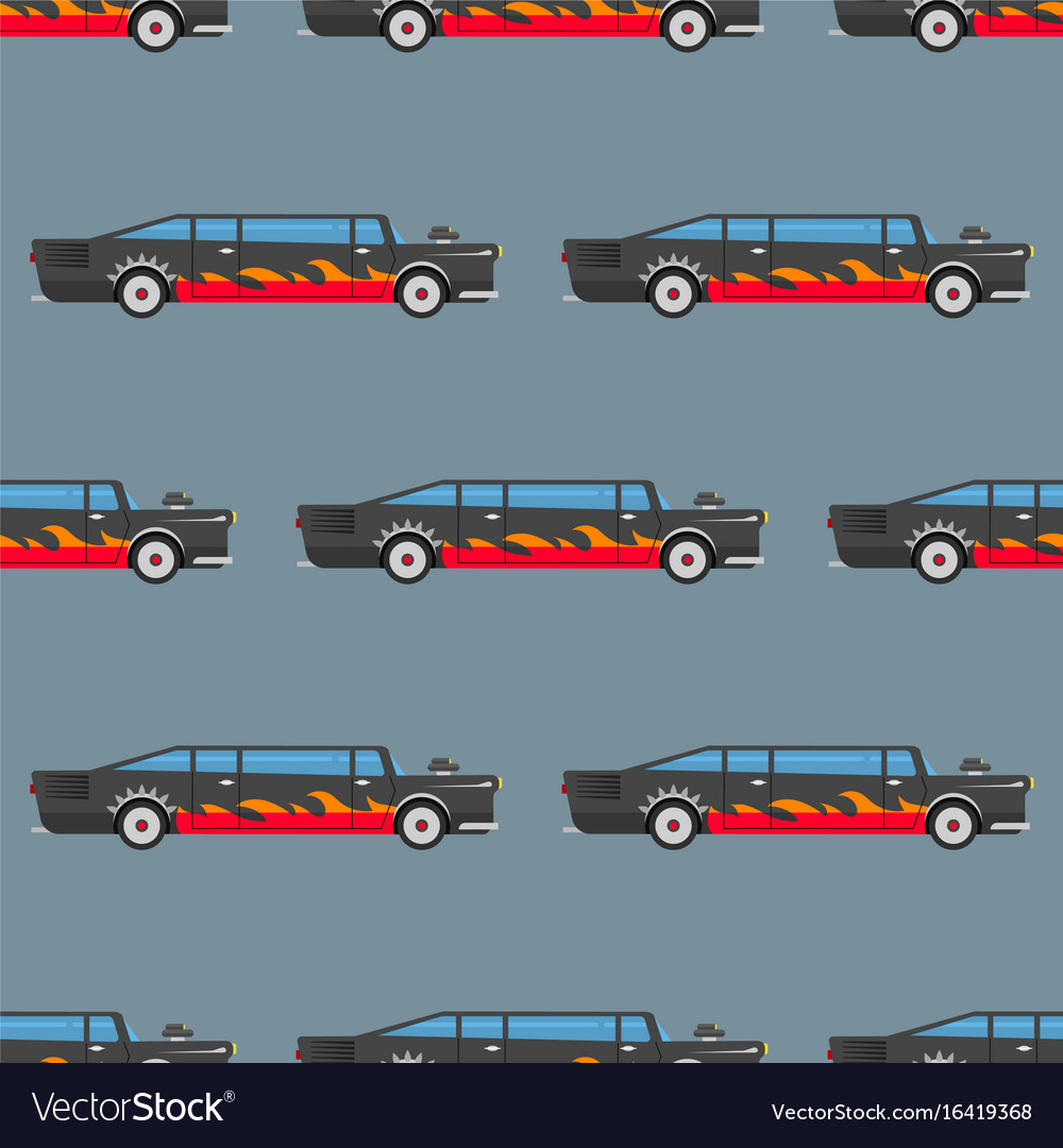 Seamless pattern luxury limousine long car vector image