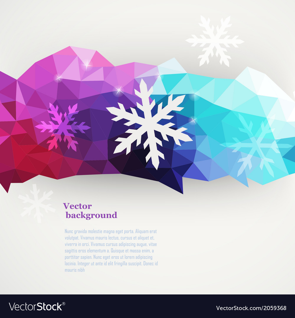 Winter composition made of triangles with vector image