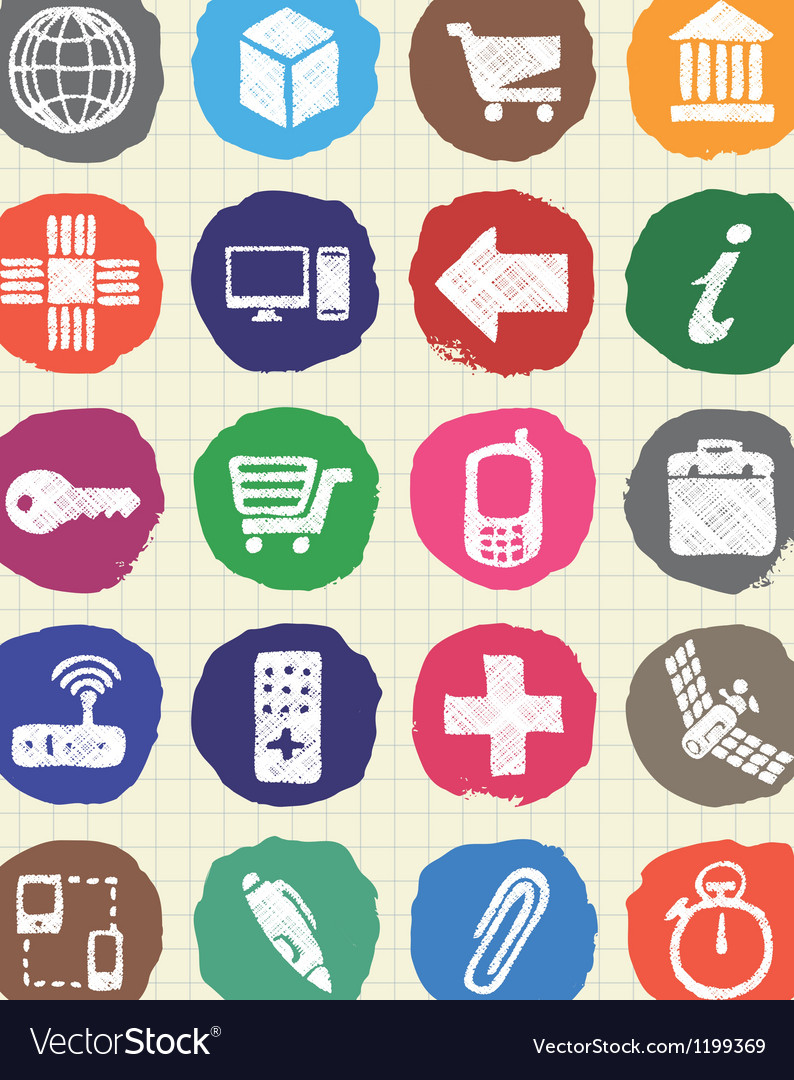 Finance and Internet icons set drawn by chalk vector image