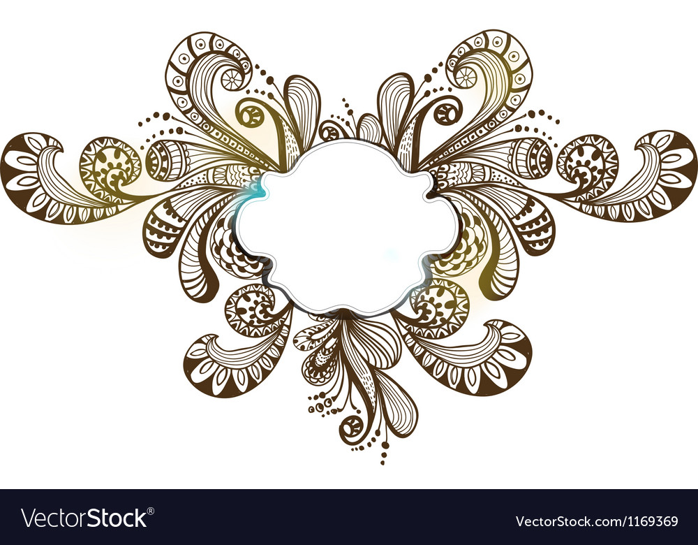 Floral ornament with label vector image