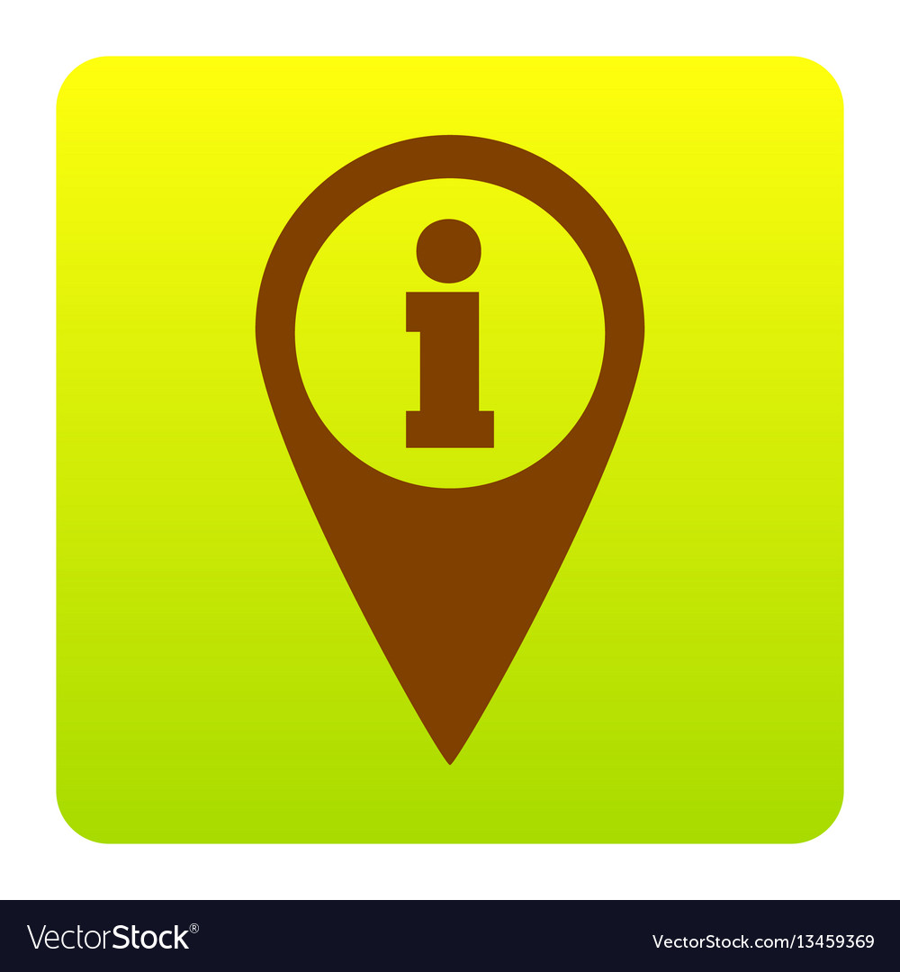 Map pointer with information sign brown vector image
