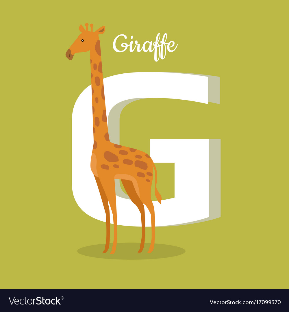 Animals alphabet letter - g vector image