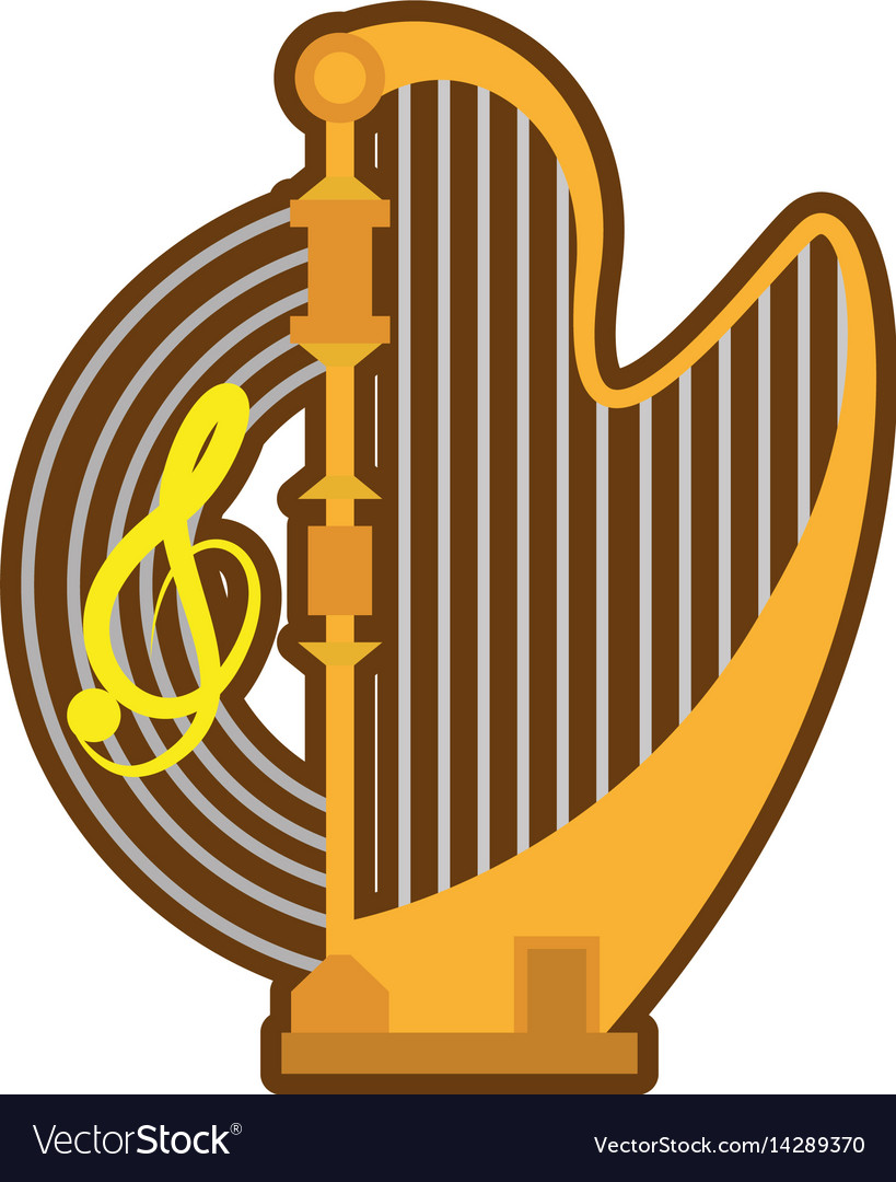 Cartoon harp musical instrument concert vector image