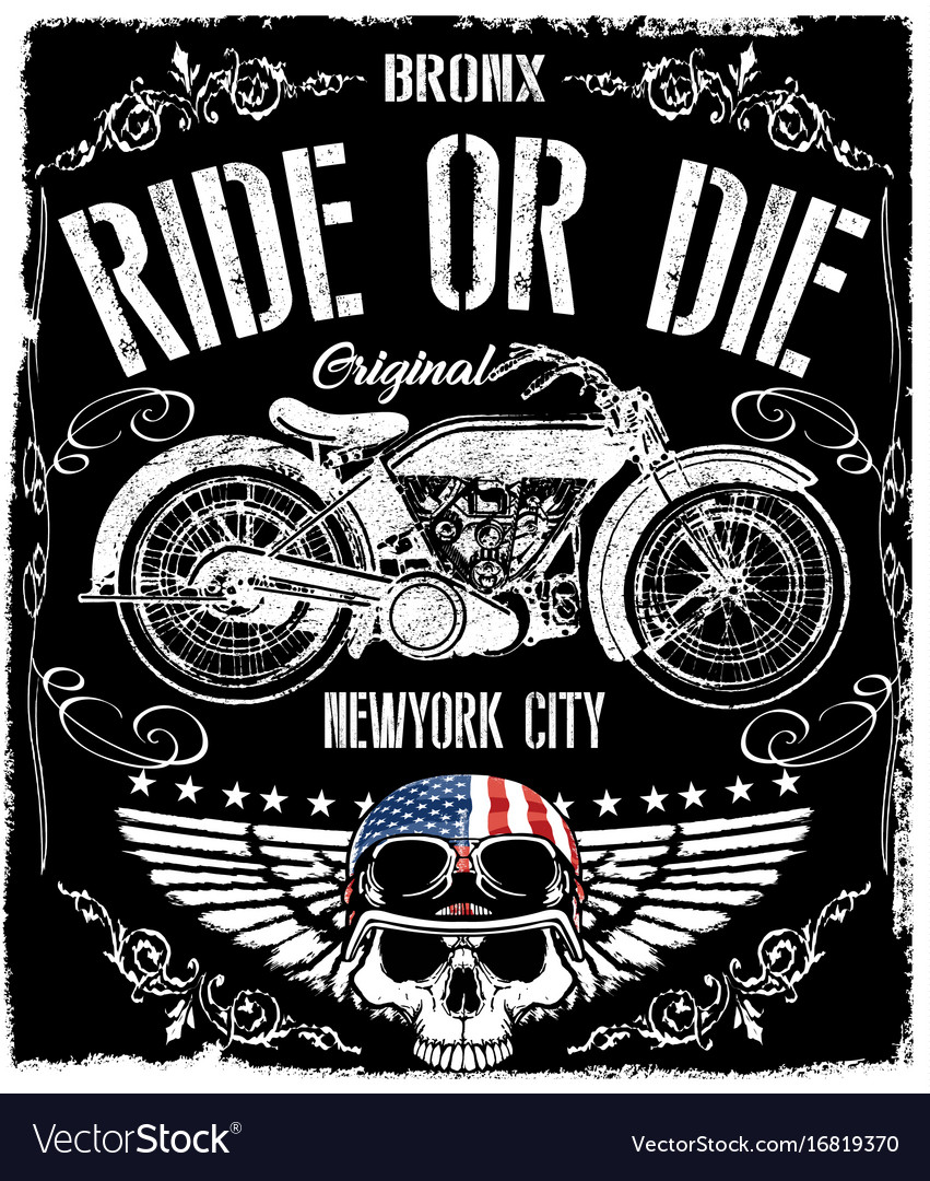 T shirt design vectors - Motorcycle Label T Shirt Design With Of Custom Vector Image