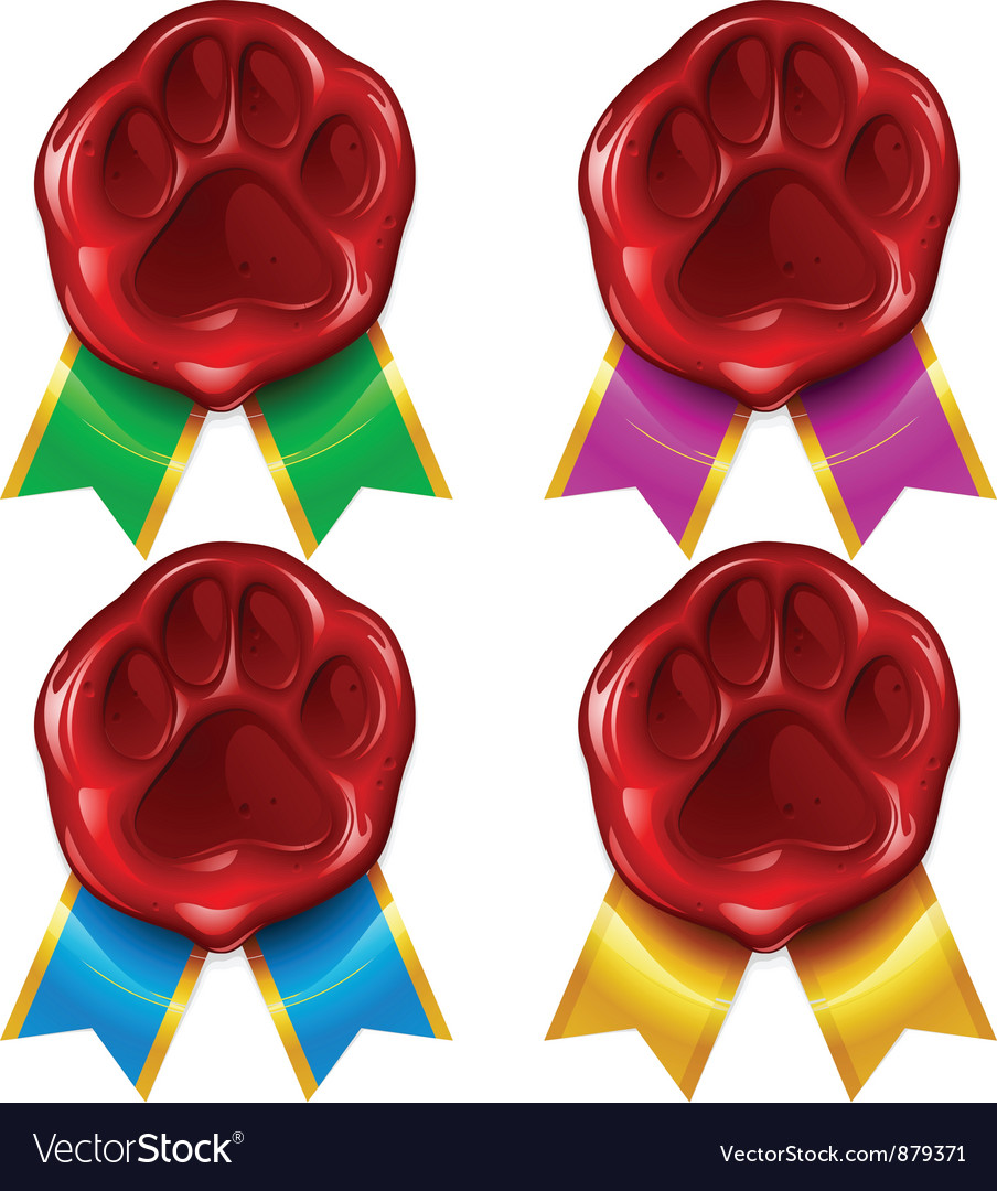 Cat paw wax seal vector image