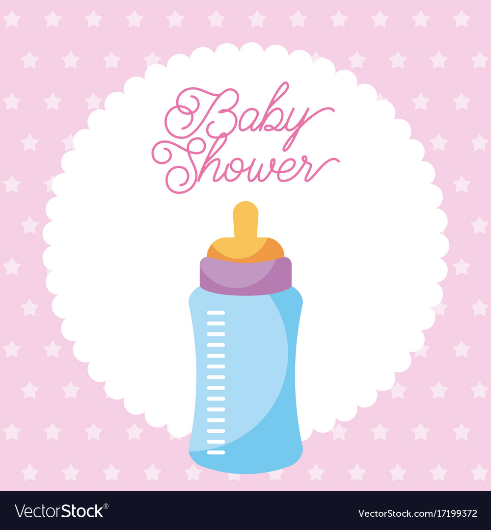 Baby shower invitation with baby bottle card dots vector image filmwisefo Gallery