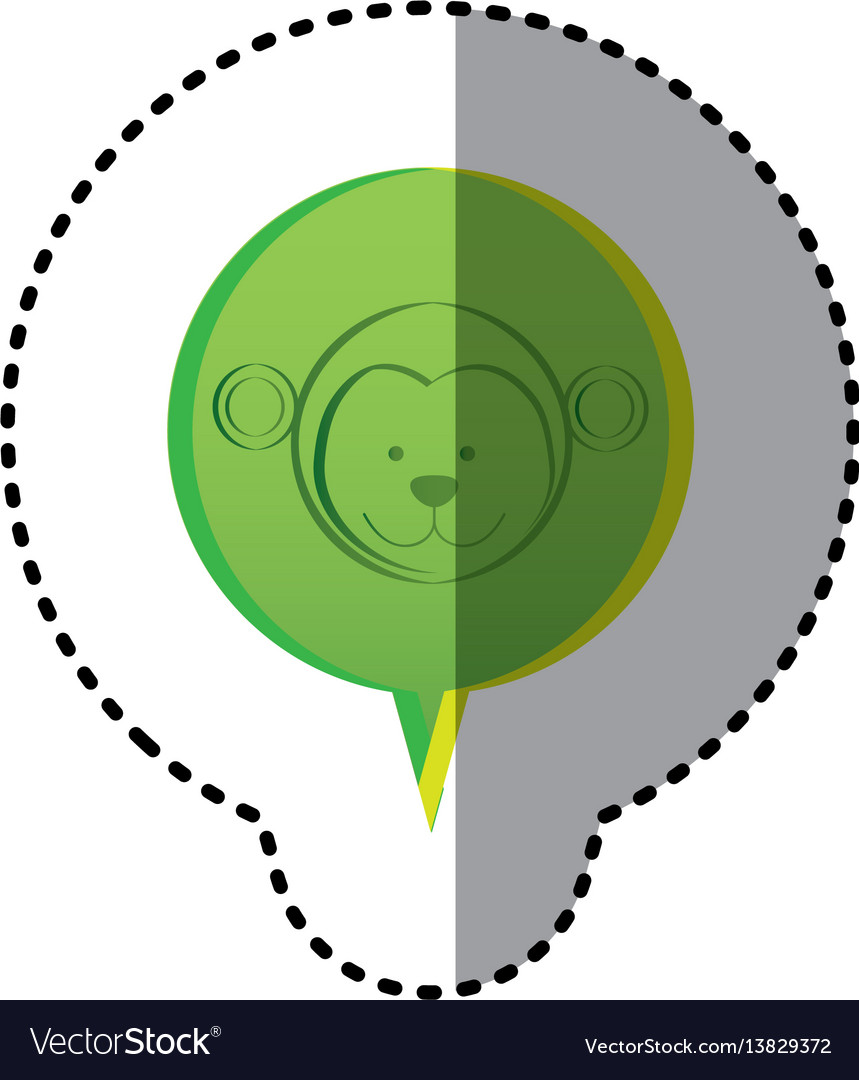 Color sticker with monkey face in circular speech vector image