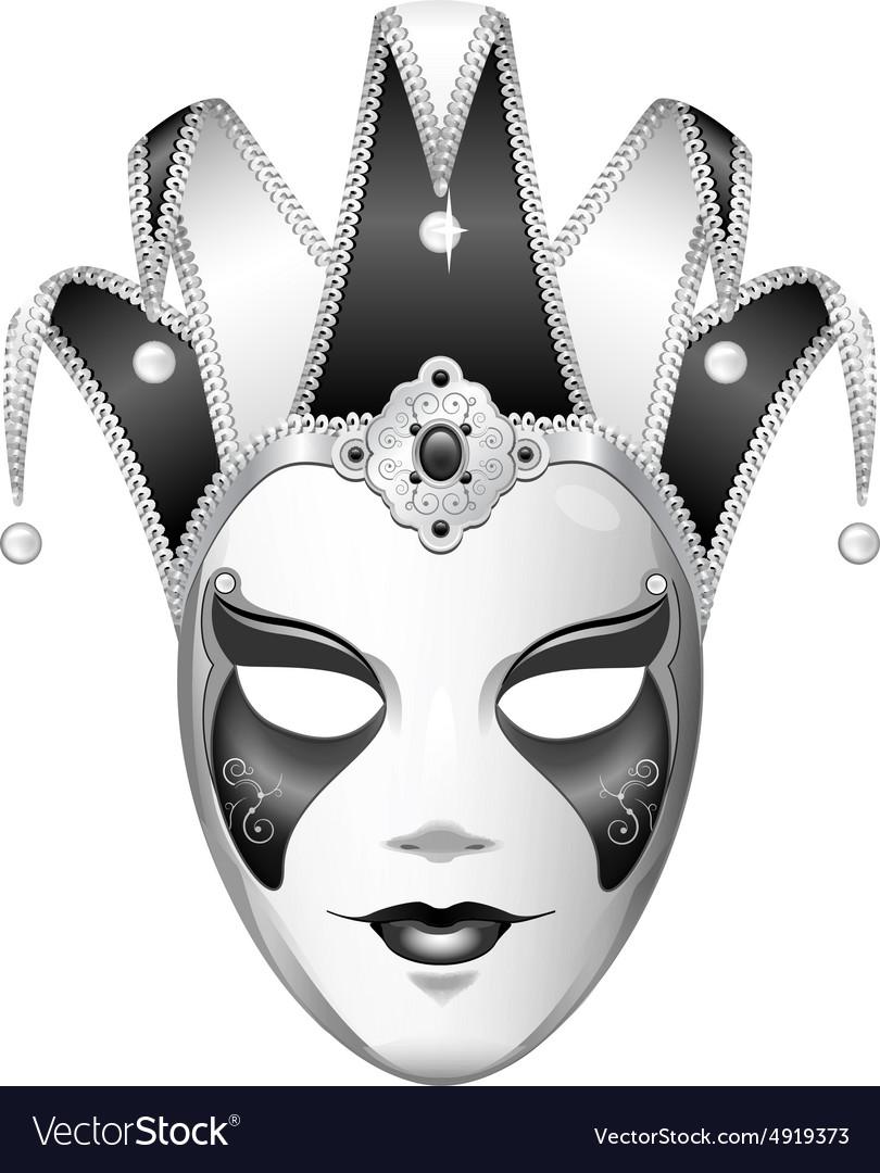 Black and White Joker Mask vector image
