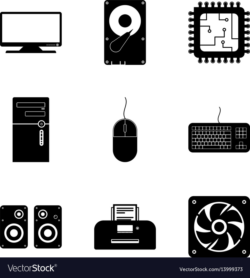 Computer component icon collection vector image