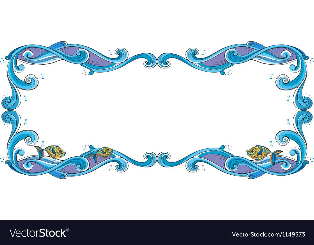 Fish border frame royalty free vector image vectorstock for Fish photo frame