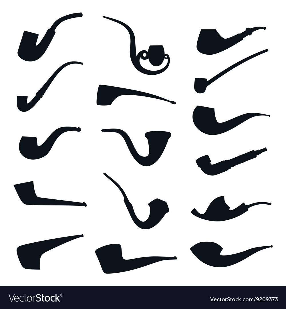 Set of tobacco pipes collection silhouette icons vector image