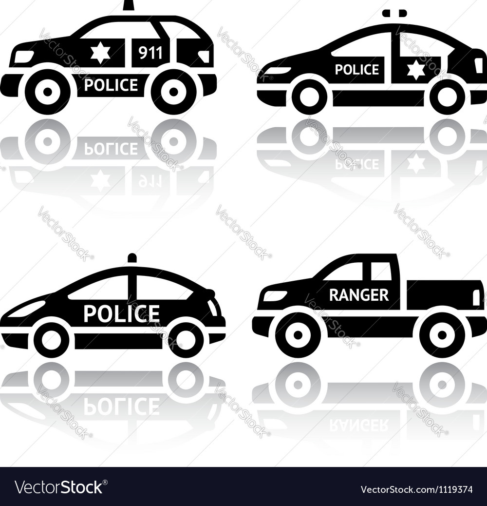 Set of transport icons - Police cars vector image