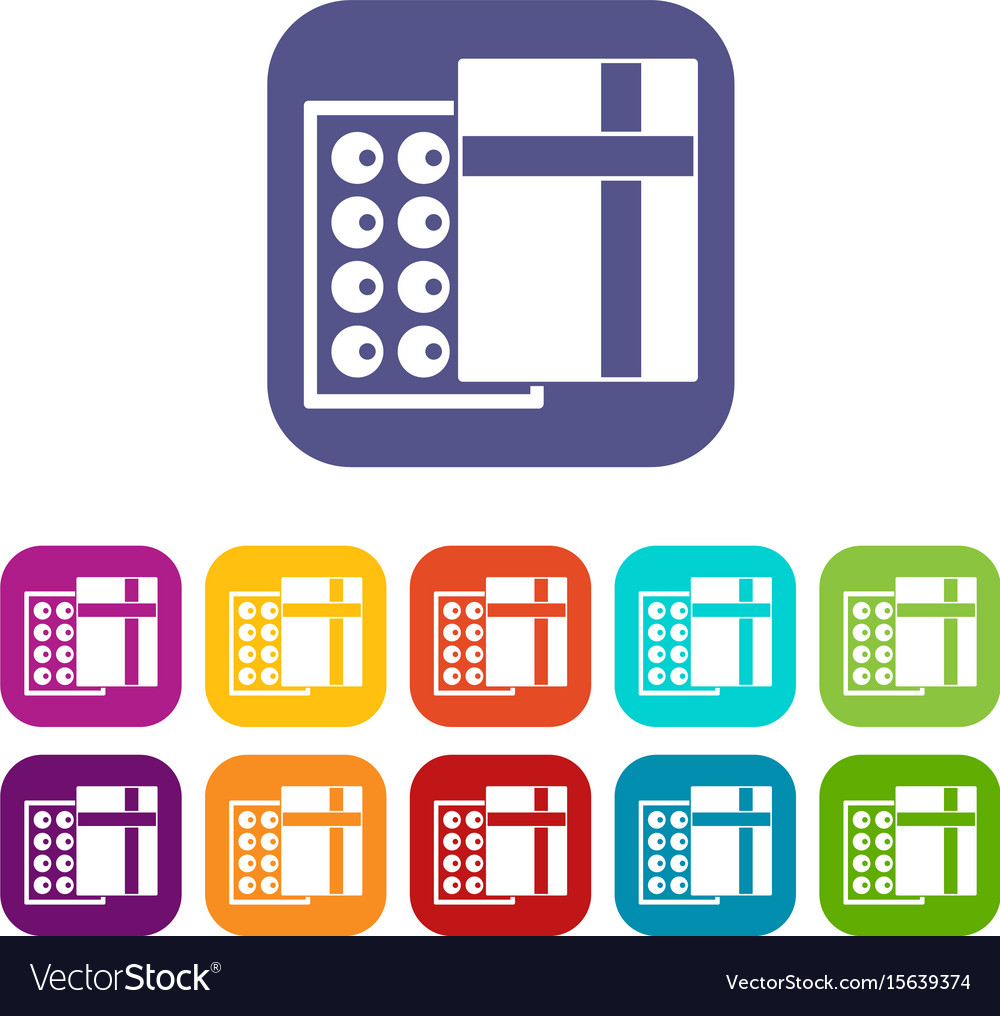 Box with chocolates icons set flat vector image