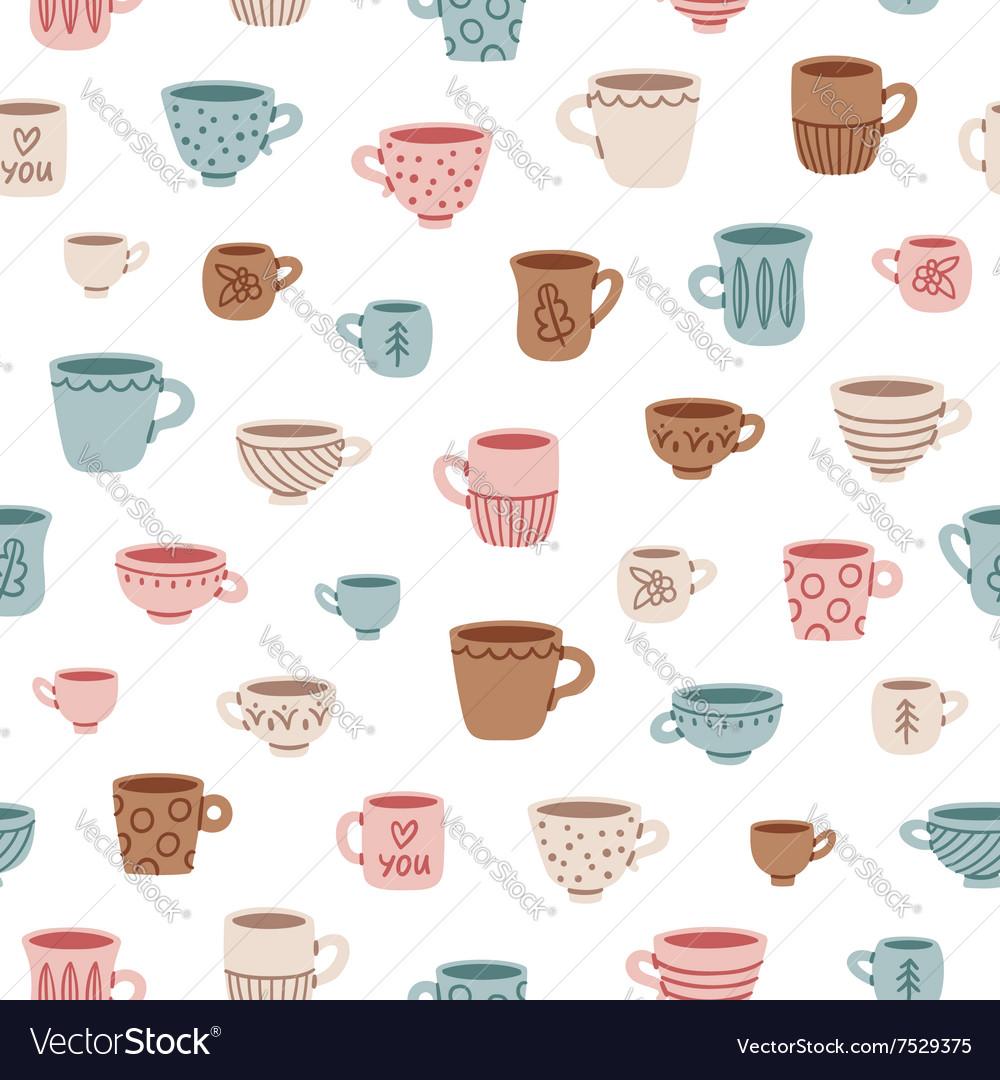 Cute mugs pattern vector image